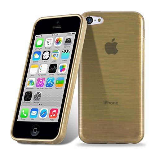 Cadorabo - Etui Housse Gel (silicone) pour Apple iPhone 5C Design: METAL BROSSÉ (brushed cover) - Etui Coque Case Cover Bumper en TURQUOISE OR