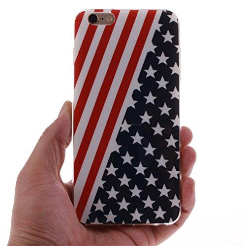 KATUMO®Schutzhülle iPhone 6/6S Schale Case Glamour Serie Flexible TPU Weiche Rückwärtige Schutztasche für Apple iPhone 6S Handyetui Mandelbaum USA Flagge