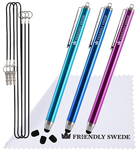 The Friendly Swede 3 Stück Touchscreen-Eingabestift Stylus mit dünner Spitze 3x Ersatzspitzen 2x Anhängern und 1x Reinigungstuch