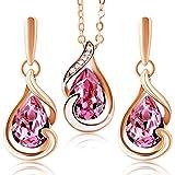 Parure femme boucles d'oreilles et collier dorés en OR 18K et Cristaux Swarovski ? Marque 2Splendid ? Magnifique Boîte cadeau | Qualité Premium