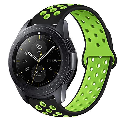 MroTec 20mm Silikon Armband kompatibel für Samsung Galaxy Watch 42mm, Galaxy Active, Gear Sport Silikonarmband kompatibel für Vivoactive 3, Withings Steel HR 40mm, TicWatch E - Schwarz Grün -