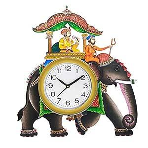 SHIVA ARTS Handpainted Beautifully Handicrafted UV Printed Ambawari Elephant Design Wall Clock for Home/Office/Gifts (40 cm * 38 cm)