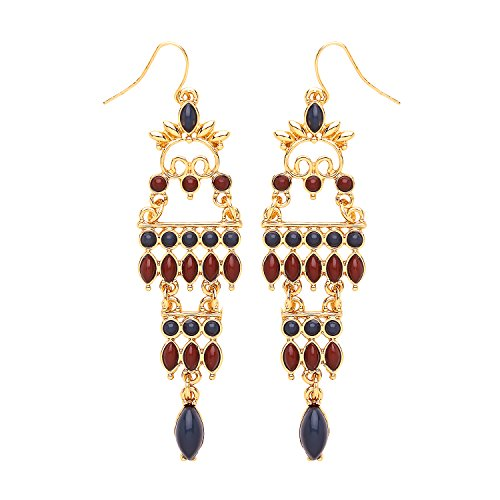 Front Row Gold Colour Navy and Burgundy Beaded Chandelier Earrings Front Row