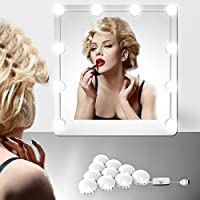 EEIEER Luces de espejo de tocador o mesa de maquillaje Stick on Strip Kit con 10 bombillas de iluminación regulables y conector USB, luces de estilo hollywood LED blanco para tocador iluminado Mesa de dormitorio de espejo Accesorios de iluminación de bricolaje