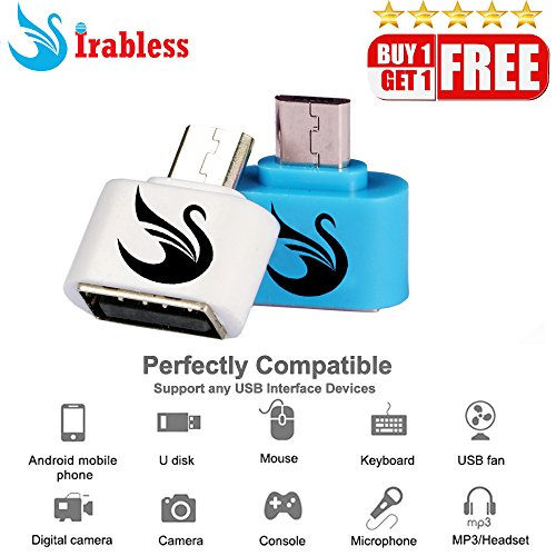 IRABLESS Micro OTG Adapter For Android Smart Phone,Samsung,Vivo,Xiaomi Mi,OPPO,HTC,ASUS,SONY,LG,Moto,Lenovo,Meizu,ZTE,Xolo,Gionee,Huawei 2PCS  available at amazon for Rs.99