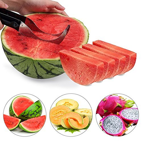 Wassermelonen Messer , ikalula Wassermelone Schneide Edelstah Melonenausstecher Kitchen Gadget und Perfektes Geschenk - Schwarz
