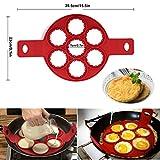 POAO Pancake Stampi in Silicone,Antiaderente Uova Stampi Pancake,Mould Cake Maker Egg anello, Fantastic Fast & modo semplice perfetto Pancakes immagine