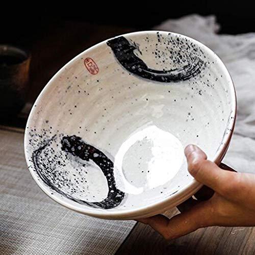 Große Schüssel von Miso Sauce Ramen Schüssel Keramik Suppenschüssel Retro Geschirr Schüssel Eimer Schüssel Lautsprecher Schüssel 17,8 cm (Durchmesser 20 cm, 8,3 cm Höhe) Catering Küche Schalen weiß