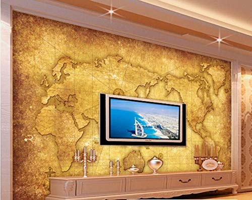 Minyose Customize any size 3D wallpaper retro nostalgia world map sail charter TV backdrop decorative painting 3d wallpaper-300cmx210cm (Charter-tv)