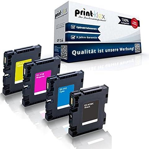 4x kompatible Druckerpatronen für Ricoh Aficio SG 2100 SG 2100 N SG 3100 snw SG 3110 dn SG 3110 dnw Black Cyan Magenta Yellow - GC-41K GC-41C GC-41M GC-41Y GC41K GC41C GC41M GC41Y - Office Line Serie