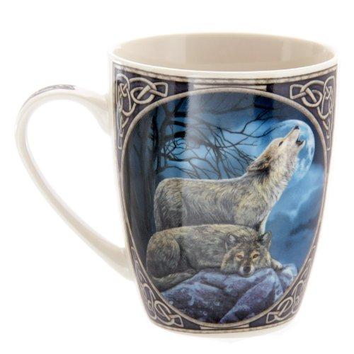 Lisa Parker Taza de desayuno (porcelana, en caja expositora), diseo de lobo aullando