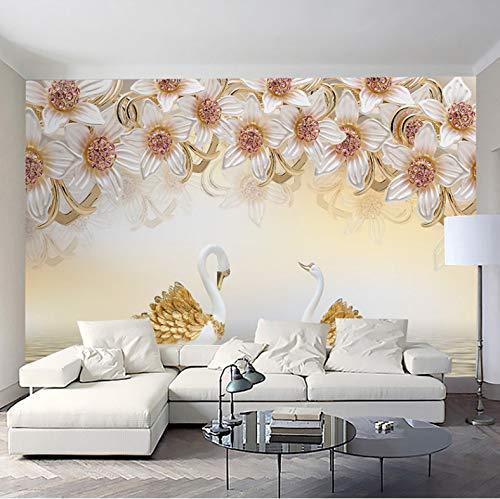 Wandbilder Dekorationen Wand Aufkleber Goldene Schwanblumen Wohnzimmer Hintergrund Modern Kunst Kinder Tv (W) 250x(H) 175cm ()