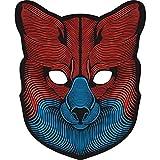 Máscara de Halloween para cosplay con tecnología de sonido reactivo, máscara de control de música y voz para disfraz, fiesta, discoteca, festival, Halloween, día de la calle y celebración Fox