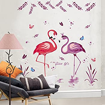 Iwallsticker romantic flamingo wall sticker decorative wall art diy birds mural sticker for living room bedroom decoration