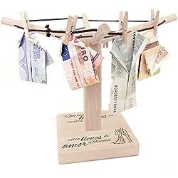 """Tendedero de ropa de madera pequeño con grabado romántico """"Que todos los días de vuestra vida…"""" [GRABADO NOVIOS] – Regalo original y creativo para corgar dinero o fotos. Envuelto para regalo de bodas – 20cm x 15cm"""
