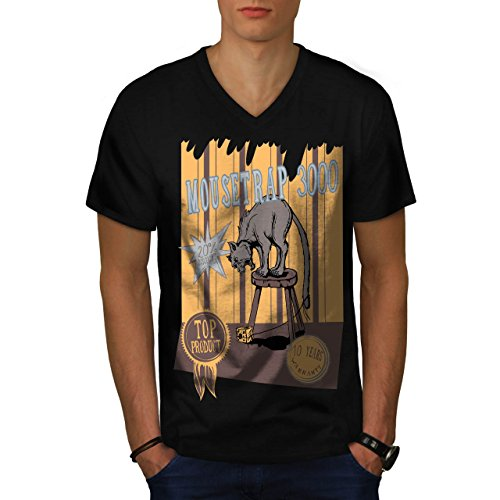 mouse-trap-cat-bait-cheese-lure-men-new-black-m-v-neck-t-shirt-wellcoda