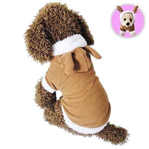 Puppy Funny Kostüm - Animal Festival Kleidung, Hund Katze Weihnachten Rentier Kostüm, Funny Pet Elk Kostüme Cosplay Kleid, Puppy Fleece Outfits Warm Hoodie Apparel,M