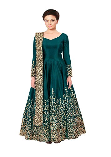 MRS WOMEN Taffeta Silk Embroidered Semi-Stitched Anarkali Gown | womens party wear | Today preminum new gowns | new design collection 2018 | new design dress (Green_Free Size)