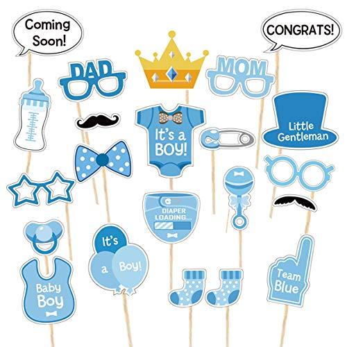 Babyparty Fotorequisiten Junge - Baby Shower Fotoaccessoires, Blau Masken, Neugeborene Foto Stützen, Photo Booth Props fur Baby Party. Babydusche Photobooth Stützen
