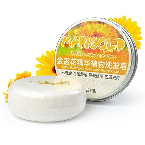 PanDaDa Conditioning Shampoo Bar, Shampooing Solide Sec Bio Savon Cheveux Hydratants 100% Naturel Fait à la Main-Fleurs de Calendula