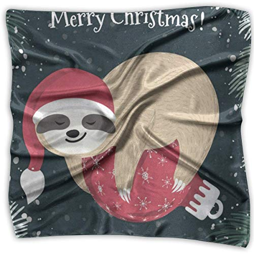Zcfhike Square Scarf Cartoon Sloth In Merry Christmas Hat Handkerchief Unisex Head & Neck Tie for Adults Turtle Fur Fleece Neck