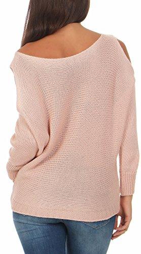 Malito Damen Pullover Cold-Shoulder Design   Longsleeve im Grobstrick Look   Strickpullover - Rundhals - Oberteil - 7335 (rosa)