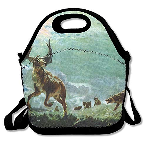 Paintings Wildlife Wolves Hunting Elk Convenient Lunch Bags Tote For Travel School Picnic Grocery Bags Outdoor Picnic Bag