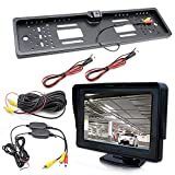 OUBAYLEW Universal Rückfahrkamera Funk 170°Auto Kamera 4.3 Zoll Monitor für EU-Nummernschilder wasserdicht Kabellos ABS Rückansicht 12V