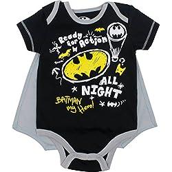DC Comics Body de Manga Corta de Batman con Capa - Disfraz Friki Divertido para Bebé-Niños, Gris Jaspeado 6-9 Meses
