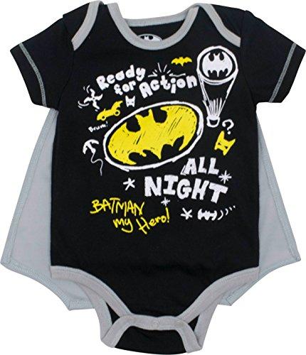 DC Comics Batman Baby Jungen Body und Cape Set, Schwarz 12 Monate