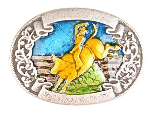 Gürtel-Schnalle Bull-Riding Gürtelschließe Wechsel-Schliesse Geburtstag-Geschenk Accessoire 9 x 6,6 cm 40 mm Gürtelschnalle Bull Riding