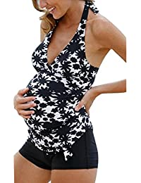 Meedot Damen Umstandstankini Sexy Bikini-Set Neckholder Takini Set Bademode Oberteil + Short Maternity Badeanzug Beachwear Schwarz/Weiß S - 5XL