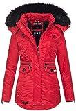 Navahoo Damen Winter Jacke Parka Teddyfell Winterjacke Kunstfell Mantel B615 [B615-Schatz-Rot-Gr.XL]