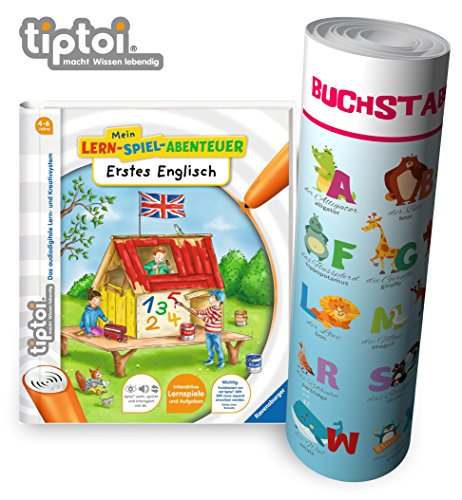 Ravensburger tiptoi  Buch Mein Lern-Spiel-Abenteuer | Erstes Englisch - Schule, Buchstaben Zahlen - Lernen für Kinder ab 4 Jahre