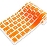 iBenzer - Macaron Serie Orange Keyboard Cover Silicone Rubber Skin for Macbook Pro 13'' 15'' 17'' (with or without Retina Display) Macbook Air 13'' and iMac - Orange MKC01OR