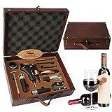Juego de accesorios para vino Yobansa con caja de madera envejecida, juego para regalo, abridor de botellas de vino y tapón de vino 9set 0b