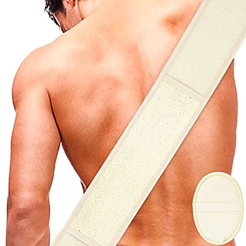 Luffaschwamm Rückenscrubber für Bad und Dusche bei DigHealth, Luffa Körperpad mit Rücken Gurt, 100% Luffa Natur Schwamm, Körper und Gesichts Peeling Set