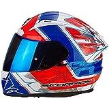 Scorpion EXO 2000 Brutus Weis Rot Blau Motorrad Helm Frei Dunkel Visier Grobe L