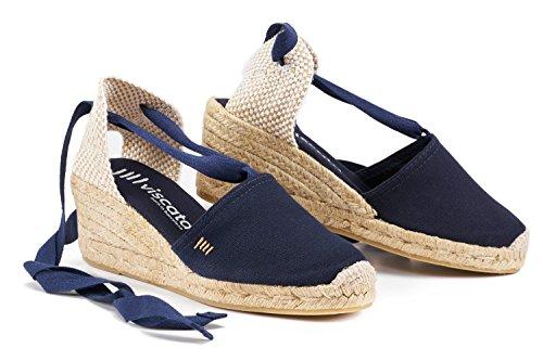 "VISCATA Escala 2.5"" Heel, Soft Ankle-Tie, Closed Toe, Classic Espadrilles Heel Made in Spain Navy blue"