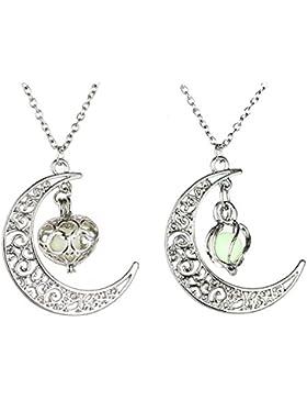 MJARTORIA Damen Halskette Silber Farbe Freundschaftsketten Crescent Halbmond Glas Anhänger Leuchtend Strass 2...
