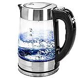 Glas Wasserkocher 1,8Liter elektronische Temperatureinstellung LED Anzeige Kabellos Edelstahl 2200W