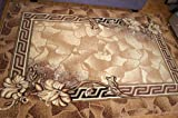 Karatcarpet Moderner Teppich Kurzflor Kollektion Gold 088/12 Hell Braun, Seidenglanz, Muster: Bordüre, Blumen. (300x500 cm)