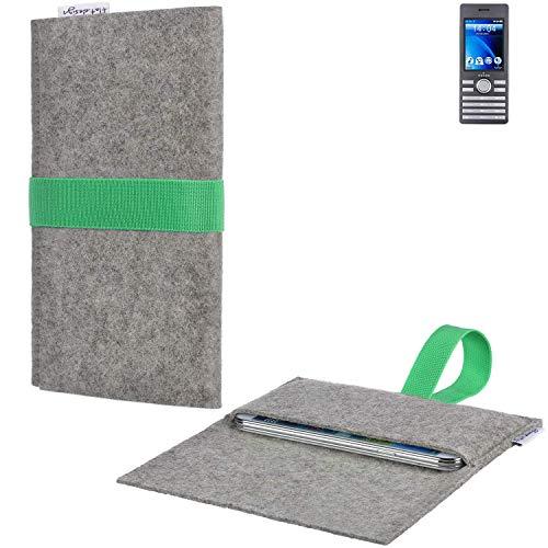 flat.design Handyhülle Aveiro mit Filz-Deckel und Gummiband-Verschluss für Kazam Life B6 - Sleeve Case Etui Filz Made in Germany hellgrau grün - passgenaue Smartphone Tasche für Kazam Life B6