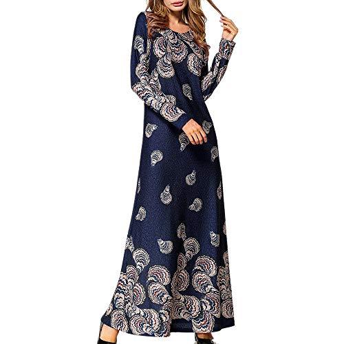 Amphia - Ethnische Art-Druck-Lange Hülsen-Partei-Lange Maxi-Kleid-Robe der moslemischen Art- und Weisefrauen - Muslimische Damen Langarm National Style Printed Robe Dress