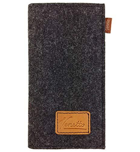 Venetto Filz Portemonnaie Geldbörse Geldbeutel Brieftasche Damen Herren Damenbörse Damengeldbörse Herrenbörse Geldtasche Visitenkarten Etui (Schwarz meliert) -