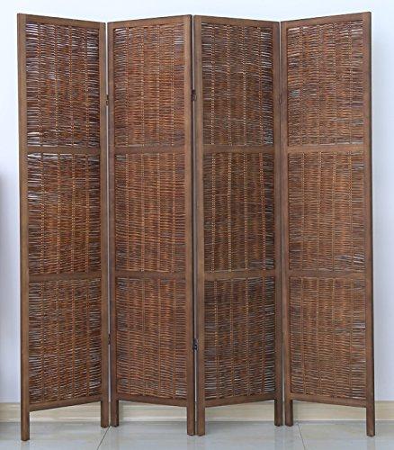 PEGANE Biombo de Madera y Mimbre de 4 Paneles, Color marrón - Dim : A