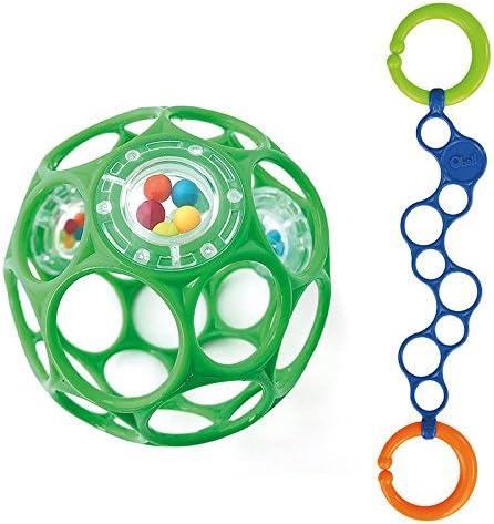 Oball Kit – pour les garçons Oball Rattle Balle pour bébé Vert avec o de Lien Bleu | D'avoir à La Fois La Qualité De Ténacité Et De Dureté
