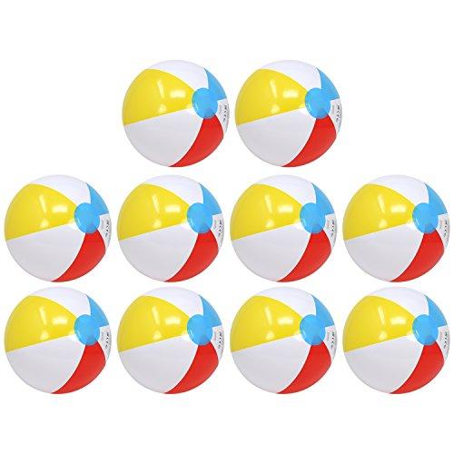 com-four® 10x Wasserball, Beachball in fruchtig-frischen Farben, Ø 26 cm (Ø 26 cm - 10 Stück)