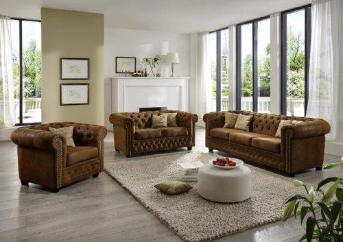 SAM Polstergarnitur wildlederlook Gobi braun Chesterfield YORK 3-2-1 Sofa exklusiv komfortabel pflegeleicht
