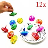 JZK 12 pcs Colourful wooden spinning tops for kids birthday party favours, party bag fillers, party supplies decorations